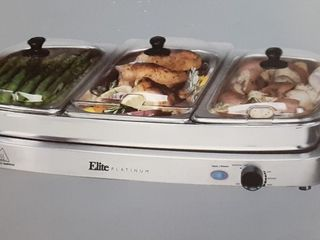 Elite Platinum 7 5 Qt Stainless Steel Triple Deluxe Buffet Server w  Warming Tray
