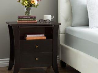 Furniture of America Mendolla Modern Espresso 2 drawer Nightstand  Retail 151 49