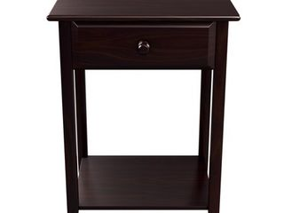 Quality Furniture Espresso Night Stand with Drawer and USB Port  17in Wide  Retail 109 99