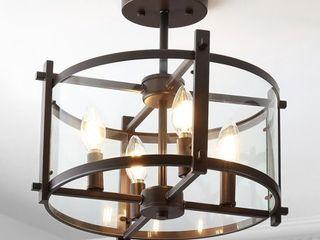 Hampton Iron Glass Drum lED light