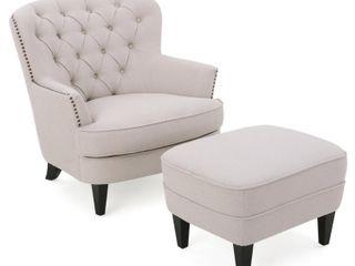 Tafton Tufted Fabric Club Chair w  Ottoman