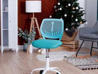 Porch   Den Nazaneen Cut out Plastic Backrest  White Metal Base Task Chair