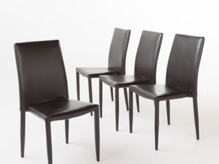 Comstock Brown leather Dinning Chairs Stackable   Set of 4