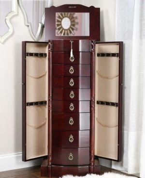 Robyn Walnut 8 Drawer Jewelry Armoire