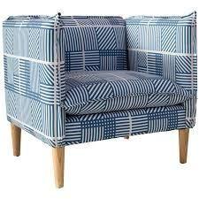 skyline chair framed striped navy blue