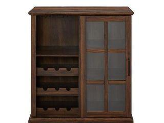 36  Sliding Glass Door Bar Cabinet   Dark Walnut