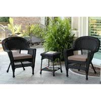 Jeco W00214 R Windsor Black Resin Wicker Chairs and table