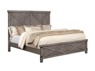 Transitional Bedroom Plank Style Eastern King Bed Unique Dark Walnut Finish Solid Wood Furniture 3 boxes no mattress