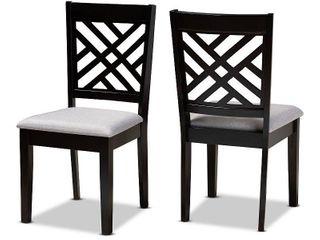 2pc Caron Upholstered Wood Dining Chair Set Sand Gray Espresso   Baxton Studio