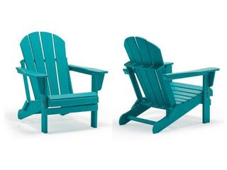 laguna Outdoor Folding Patio Poly Adirondack Chair 1 only turquoise