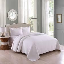 Marcielo 3 Piece 100  White Cotton Quilt Set Bedspread Coverlet  King