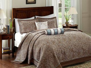Blue Whitman Jacquard Bedspread Set Queen 5pc