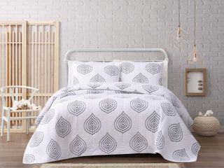 Cottage Classics Embroidered Ogee 3 Piece King Quilt Set