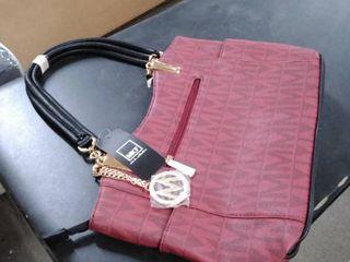 mkf purse burgundy and black