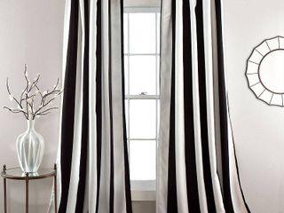 Set of 2 95 x52  Wilbur Stripe Room Darkening Window Curtain Panels Black   lush DAccor