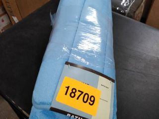 blue bath mat with anti skid back