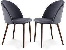 edgemod chairs set of 2 grey with walnut legs