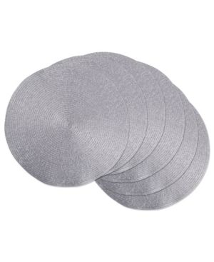 DII Round Braided Woven  Indoor Outdoor Placemat Charger  Set of 6  Metallic Silver