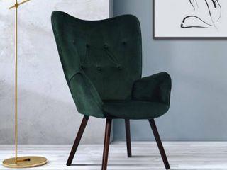 FurnitureR Kas Green Velvet Tufted Arm Chair green