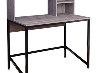 Porter Desk with Hutch  Black Gray