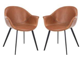 Safavieh Dublin Mid Century leather Dining Tub Chair  Set of 2  Cognac
