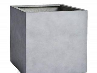 Dream Patio Santa Ana 14 5  Grey Fiberstone Cube Planter  Gray