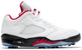 jordan v low golf white and fire red black size 5