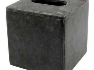 Creative Home Charcoal Marble Square Box Holder Tissue Cover  5 2  x 5 2  x 5 5  H
