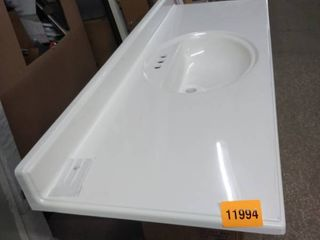 white vanity sink 61 long x 22 and half inches deep