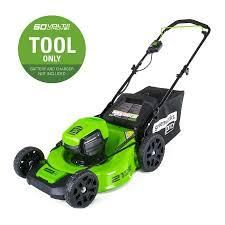 green works pro 60 volt lawn mower with bag no battery or charger