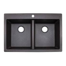 Franke Primo 33 in x 22 in Graphite Double Basin Granite Drop in or Undermount 4 Hole Commercial Kitchen Sink chip on corner