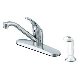 Project Source Chrome 1 Handle low Arc Kitchen Faucet with Side Spray