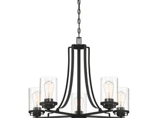 Designers Fountain Jedrek 5 light Black Chandelier with Clear Glass Shade