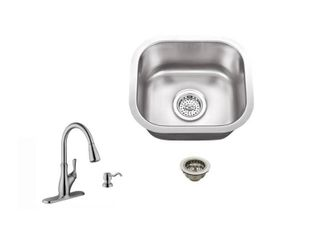 Superior Sinks Brushed Satin Single Basin Stainless Steel Undermount Commercial Residential Bar Sink