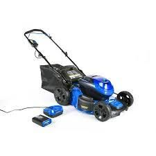 kobalt 40 v max brushless lawn mower cordless 2 and 1 battery and charger included 19 inch steel deck