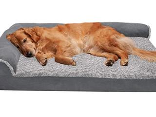 Furhaven Pet Medium Two Tone Faux Chaise Orthopedic Sofa Pet Bed