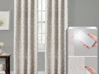Certified 100 Percent Blackout Everly Embroidered Smart Curtain Window Curtain Panel Pair
