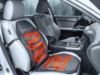 Wagan Soft Velour 12V Heated Seat Cushion   Gray  Black