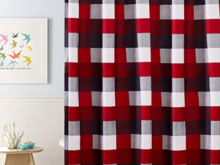Red Plaid 13 piece Shower Curtain Set  72 x 72