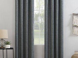 96 x52  Kline Burlap Weave Thermal 100  Blackout Grommet Top Curtain Panel Navy Denim   Sun Zero Pair