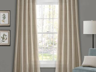 Burlap 45  x 84  Knotted Tab Top Curtain Set Pair