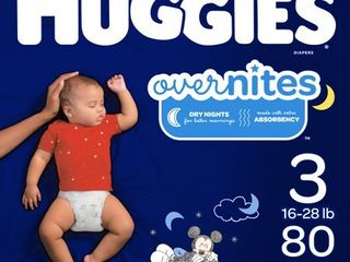 HUGGIES OverNites Diapers  Size 3  80 Count