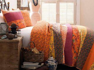 3pc Full Queen Royal Empire Quilt Set Tangerine   lush Decor