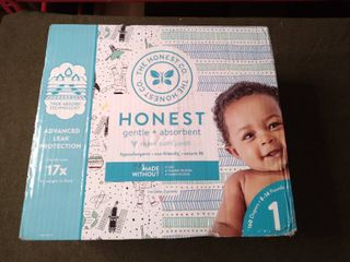 Honest Super Club Box  Size 1 Diapers  160 Count  True Absorb Technology