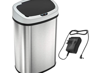 Sensor Can   13 Gallon Stainless Steel Oval Sensor Trash Can with AC Adapter