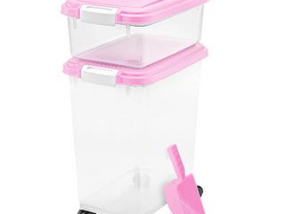 Iris USA   3 Piece Airtight Pet Food Storage   Pink lids