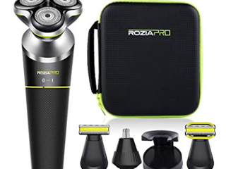 Rozia Pro Electric Razor For Men 5in1 Rotary Shavers Beard Nose Trimmer Grooming
