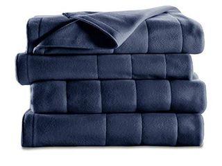 Sunbeam Heated Blanket   10 Heat Settings  Quilted Fleece  Newport Blue  Twin   BSF9GTS R595 13A00