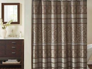 Dennie Jacquard Shower Curtain Brown