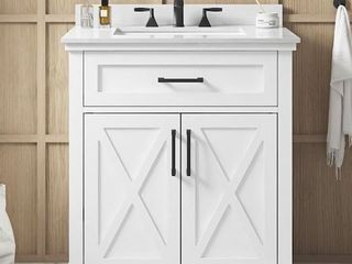 Allen Roth Oliver 30 in White Single Sink Bathroom Vanity with White Engineered Stone Top Retail 699 00